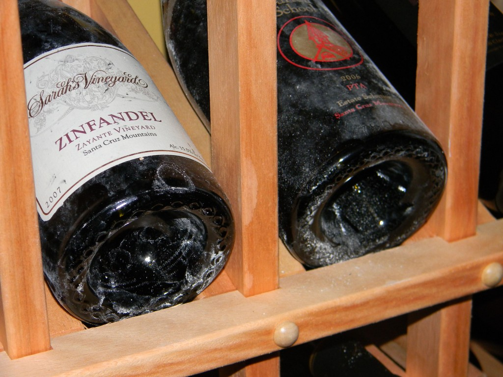 Wine Bottles With Dust From Age