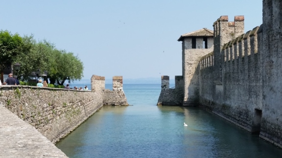 Ancient Battlement Walls On Lake Garda
